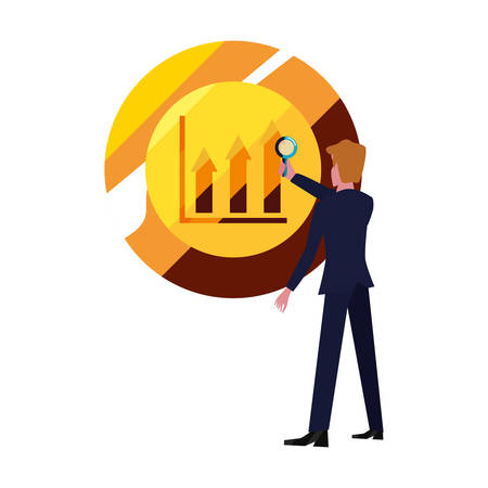 businessman with magnifier coin diagram vector illustration