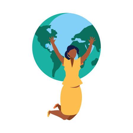 celebrating businesswoman world on white background vector illustration