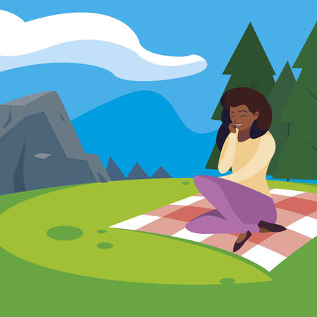 beautiful black woman seated in the park picnic day vector illustration design