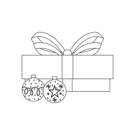christmas gift box and balls decoration vector illustration Stock Illustratie