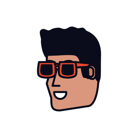 head of young man with sunglasses vector illustration design Ilustração