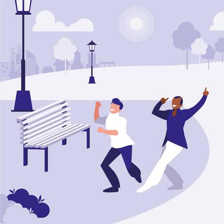 interracial dancers couple in the park vector illustration design