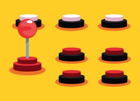 joystick buttons video game retro vector illustration