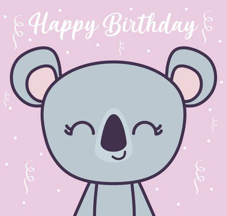 happy birthday card with cute koala vector illustration design