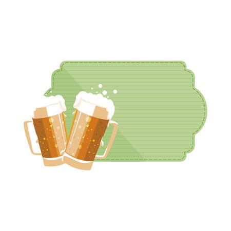 saint patrick beers jars vector illustration design