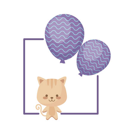 cute cat with balloons helium vector illustration design Çizim