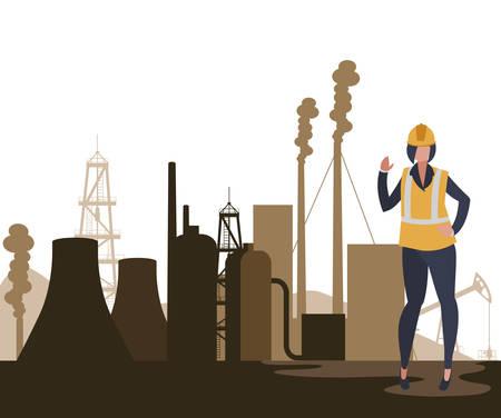oil industry female worker character vector illustration design Stock Illustratie