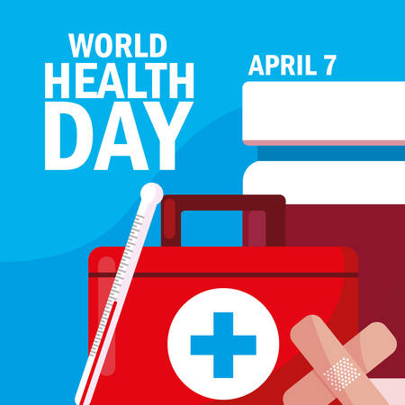 world health day card with first aid kit vector illustration design Stock Illustratie