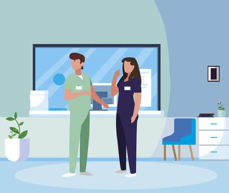 couple medicine workers in hospital reception vector illustration design Illustration