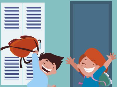 happy little school kids in the school corridor vector illustration design Ilustração