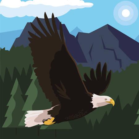 beautiful bald eagle flying in the landscape vector illustration design