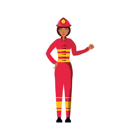 firefighter professional female avatar character vector illustration design