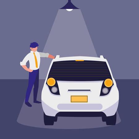 businessman with car in the workshop vector illustration design Ilustração