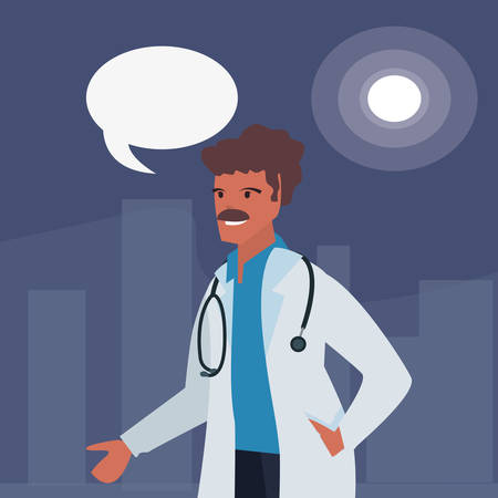 doctor speech bubble labour day vector illustration Banco de Imagens - 123020692