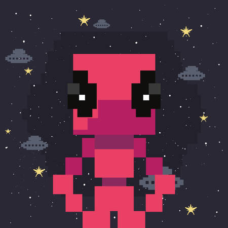 alien ufo character screen video game retro vector illustration design
