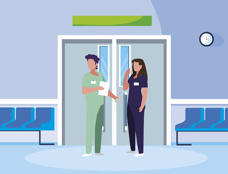 couple medicine workers in elevator door vector illustration design Çizim