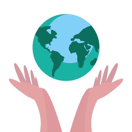 hands with world happy earth day vector illustration 向量圖像