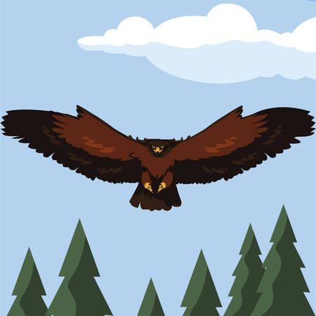 beautiful eagle flying in the landscape majestic bird vector illustration design Illustration
