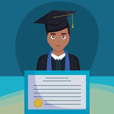 young student graduated black with diploma vector illustration design
