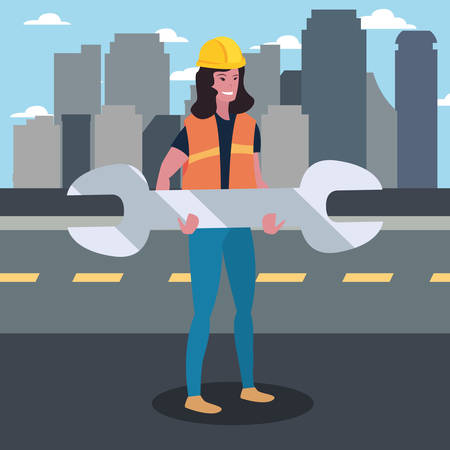 construction worker female wrench vector illustration design 向量圖像