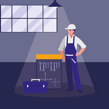 mechanic worker with tools board hanging vector illustration design