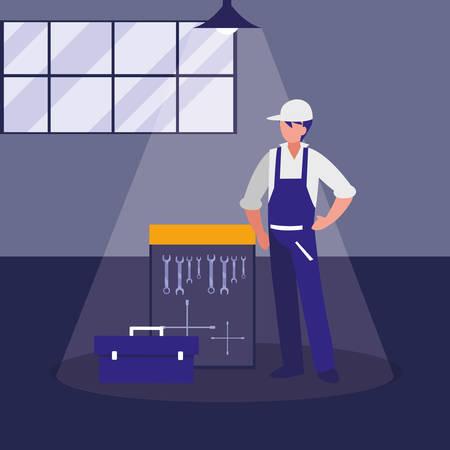 Trabajador mecánico con tablero de herramientas colgando, diseño de ilustraciones vectoriales