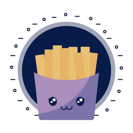 Patatine fritte kawaii carattere illustrazione vettoriale design Vettoriali