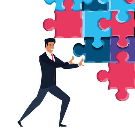 businessman with puzzle pieces isolated icon vector illustration design Ilustração