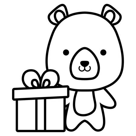 cute and little bear character vector illustration design