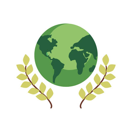 green world leaves happy earth day vector illustration