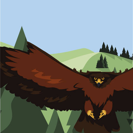 beautiful eagle flying in the landscape majestic bird vector illustration design Çizim
