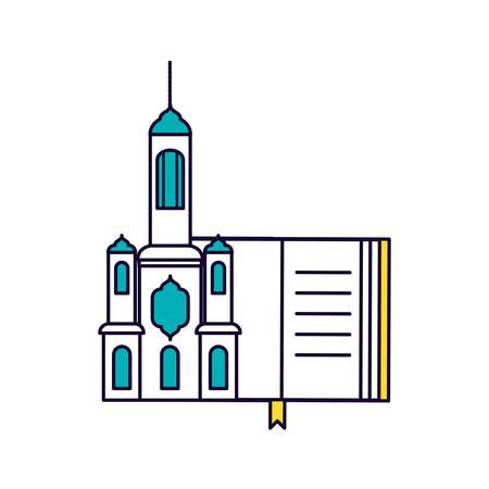 koran book with mosque castle ramadan kareem vector illustration design Imagens - 121476160