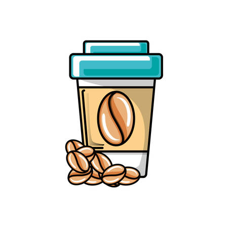 plastic container of coffee vector illustration design