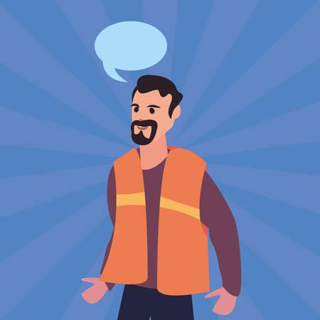 builder speech bubble labour day vector illustration Illustration