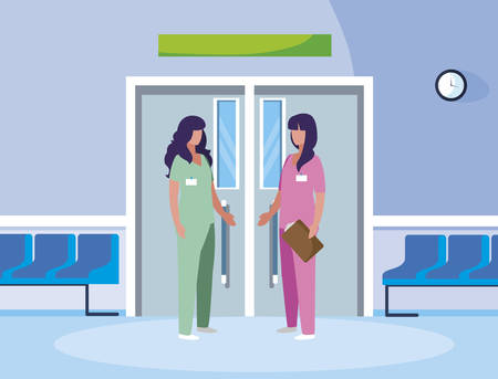 female medicine workers in elevator door vector illustration design