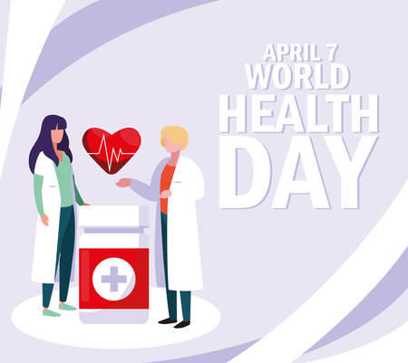 world health day with couple doctors and icons vector illustration design Ilustração