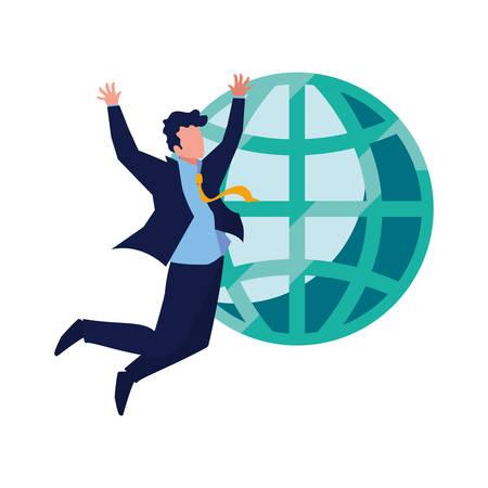 Exitoso empresario mundial, diseño de ilustraciones vectoriales de negocios