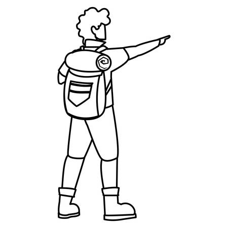 adventurous man with travelbag vector illustration design