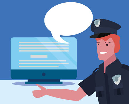 policeman speech bubble computer labour day vector illustration