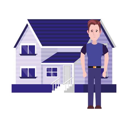 man standing near house white background vector illustration Stock Illustratie