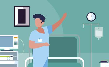 male medicine worker in operating theater vector illustration design Ilustração