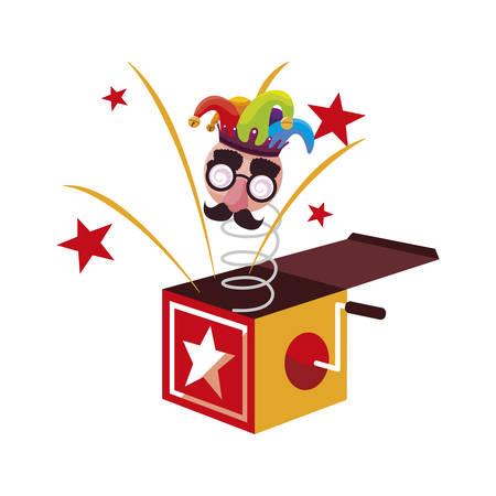 crazy emoticon with joker hat in surprise box vector illustration design