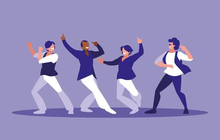 men dancing avatar character vector illustration design Çizim