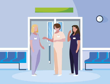 group medicine workers in elevator door vector illustration design Çizim