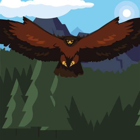 beautiful eagle flying in the landscape majestic bird vector illustration design Illustration