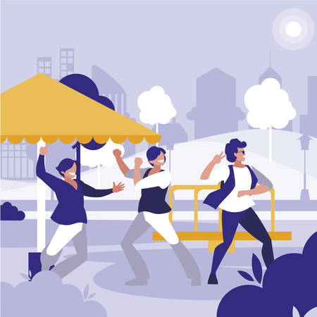 young dancers group dancing in the park vector illustration design 向量圖像