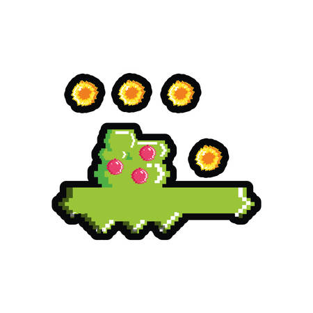 video game pixelated bush with coins vector illustration design