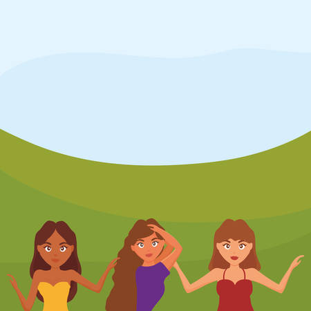 beautiful and sensual women in the landscape vector illustration design