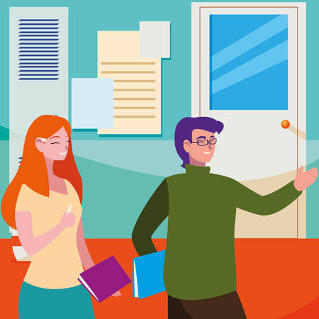 teachers couple in the school corridor vector illustration design Ilustrace