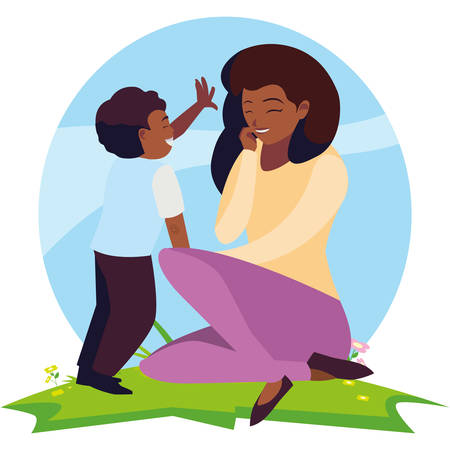 beautiful black mother with son in the field vector illustration design